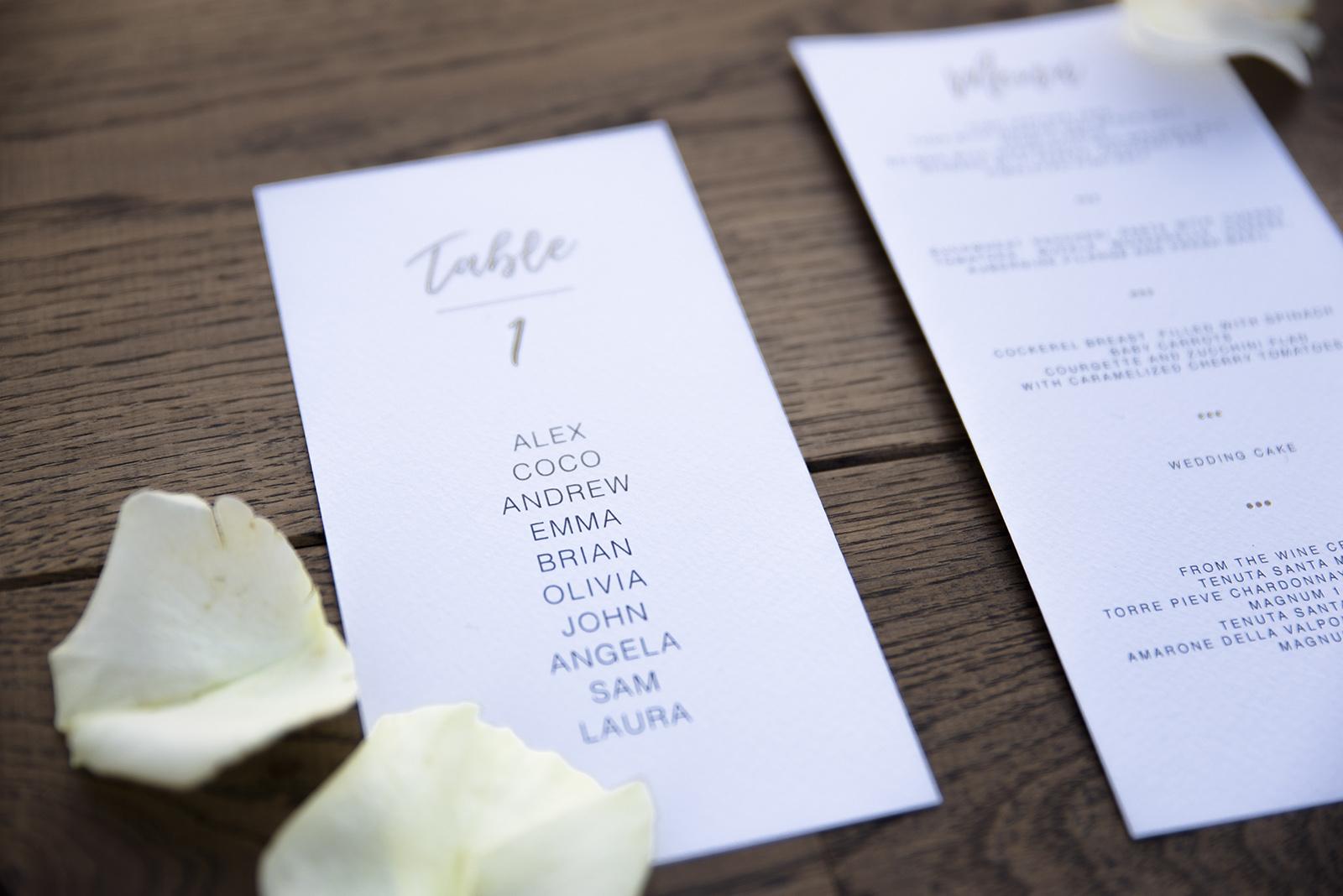 Mugga Design oro gold tableau de mariage e menu in carta Modigliani logo monogrammed e rose sullo sfondo di legno