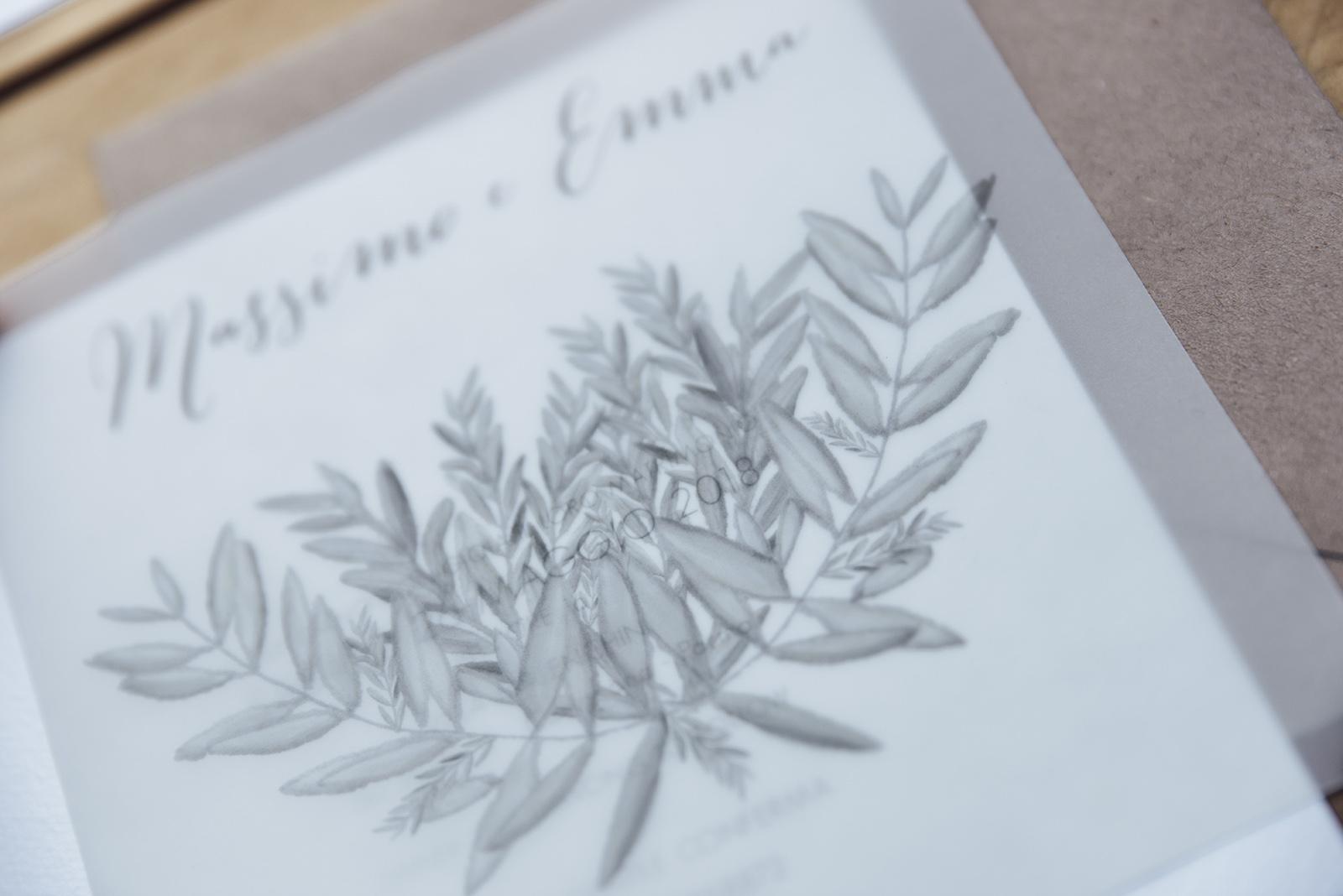 Mugga Design invito completo partecipazione in carta vegetale carta da lucido con ulivo illustrato a mano personalizzabile